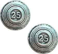 More details for set of 2 clays 25 shooting handcrafted from english pewter pin badges -pag