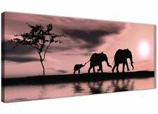 Blush Pink African Sunset Elephants Canvas Art Print - Modern 120cm Wide - 1361