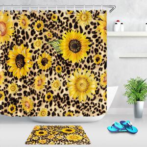 Watercolor Sunflowers Leopard Print Creative Shower Curtain Set Bathroom Decor