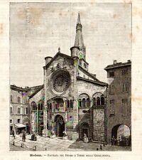 Stampa antica MODENA Duomo e Torre della Ghirlandina 1891 Old print