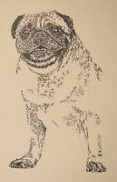 Pug Dog Art Print Lithograph #236 Stephen Kline adds your dogs name free. GIFT