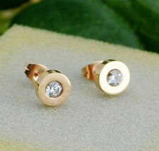 18KGP Rose Gold Charming Crystal Round Titanium Stainless Steel Women's Earrings