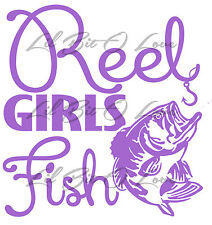 Full Size Reel Girls Fish Vinyl Decal Sticker with bass for vehicle Fishing Fish