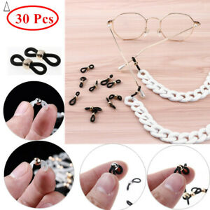 30 Pcs Eye Glasses Chain Connector Ends Strap Loops Silica Gel for Most Glasses