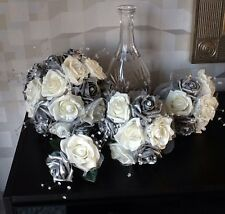 WEDDING FLOWERS BRIDES IVORY/PEARLISED SILVER FOAM ROSE BRIDAL BOUQUETS PACKAGE