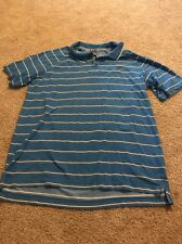 Nike Sportswear Men's Blue White And Gray Striped Polo Dry Fit Top Xl