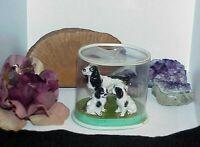 3 English Dog Springer Spaniel Porcelain Miniature Pointer Figurine Mom & Pups