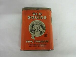 VINTAGE ADVERTISING  EMPTY OLD SQUIRE  VERTICAL  POCKET  TOBACCO TIN  P-10-N