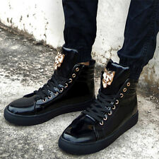 Mens Metal Decor Lace Up High Top Patent Leather Shoes Casual Punk Ankle Boots
