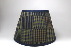 Country Primitive Navy Patchwork Quilt Homespun Fabric Lampshade Lamp Shade