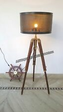 Vintage Floor Lamp Wooden Tripod Home Decor Lighting Stand Use With Shade