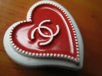 CHANEL 1  RED WHITE HEART  PAINTED METAL, STAMPED  23mm cc logo