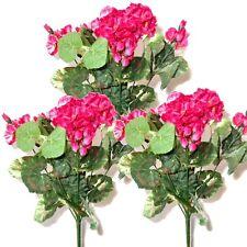 3 Artificial 36cm Geranium Bushes With Pink Flowers - Decorative Plastic Plants