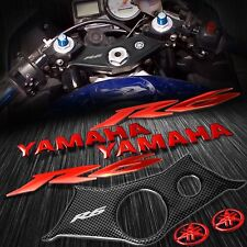 "Handle Bar Yoke Cover Carbon Look+Chrome Red 8"" Logo+Emblem Sticker 03-05 YZF R6"