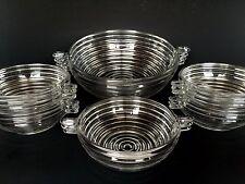 Anchor Hocking Glass Manhattan Crystal Berry Serving Bowl 6 Piece Set Vintage
