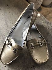 """White Mountain Leather Flats, """"Prize"""" Champagne Color, Women's Sz.10, Nwob"""