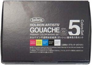 Holbein Artists' Gouache opake Aquarellfarbe 5 Grundfarben-Set G741 Japan Import