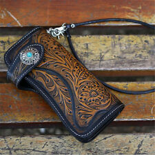 Vintage Men Tan Carved Long Genuine Leather Wallet with Biker Trucker Chain Bag