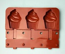 3 Cup Silicone Ice Cream Cake Mold Cupcake Treat Lollipop Maker Frozen Popsicle