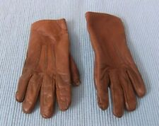 Vintage Pair Of Little Girl'S Brown Leather Gloves