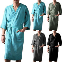 Mens Cotton Linen Bathrobe Pajamas Kimono Summer Bath Robe Dress Gown Loungewear