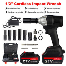 3IN1 Cordless Electric Impact Wrench Gun 1/2'' 520Nm Driver Drill w/ 2 Batteries