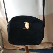 Authentic Salvatore Ferragamo Vara Suede Navy Nubuck Crossbody VINTAGE Bag Purse