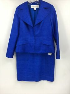 Doncaster Signature 100% Silk Lined Skirt Suit Royal Blue Size 10 M NEW