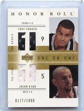 2001-02 HONOR ROLL #125 TONY PARKER RC & JASON KIDD JERSEY #177/1000, SPURS NETS