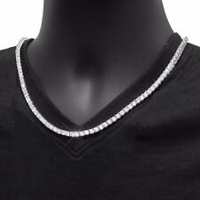 """Men's Fashion Iced Out 4 mm 18"""" CZ Stoned Silver Plated Tennis Chain Necklace"""