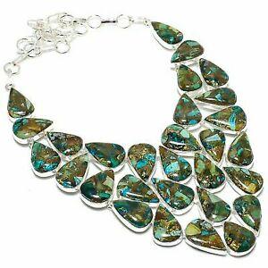 "Copper Malachite Gemstone Handmade 925 Sterling Silver Jewelry Necklace 18"""