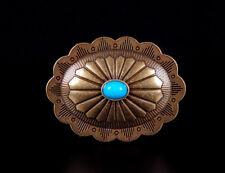 10pc Southwest Oval Turquoise Vintage Copper Leathercraft Saddles Decor Conchos