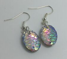 Mermaid Egg / Dragon Egg Scales Silver Plt Charm Earrings Clear Pink D001