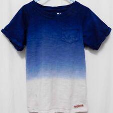 Girls Hudson 7 Tee Shirts TShirt Dip Dye Ombre Blue Ivory