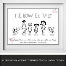 FAMILY NAME | Personalised Picture | Stick People Figures | FREE POST | (NP172)