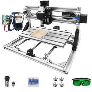 3 Axis CNC Router Kit 3018 With 5500MW Laser Aluminium Engraver Wood Milling USB