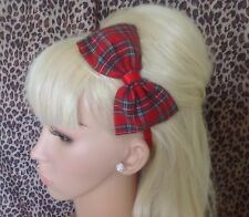"NEW RED ROYAL STEWART TARTAN CHECK FABRIC 5"" SIDE BOW ALICE HAIR HEAD BAND CUTE"