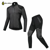 Mens Cycling Set Long Sleeve Jersey Pants MTB Bike Fleece Bicycle Clothing Suit