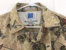 Marc Ecko Hawaiian Shirt Blue Rhino Exhibit Warriors Samurai Kung Fu Size XL