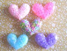 5 X Lindo flatback Resina, Adorno de corazón, artesanías, Decoden cabujón,