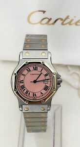 CARTIER SANTOS OCTAGON JUMBO 30 MM AUTOMATIC TWO TONES RARE PINK DIAL - 1 YW !