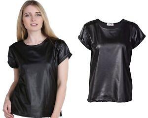 New Ladie's/Women Shiny Wet Look PVC PU Ladies Turn Up Short Sleeve T-Shirt Top