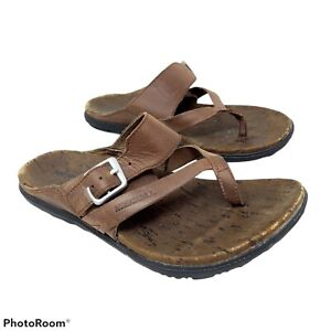 Merrell Women's 6 M Around Town Thong Buckle Sandals Brown Leather J03730 Slides