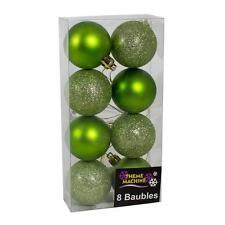 Weihnachtsdekoration 8 Pack 50mm Glitzer / Uni Kugeln - Grün