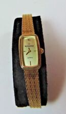 Vintage RODANIA Yellow Gold SS Quartz Women's Dress Mesh Wrist Watch Diamond A20