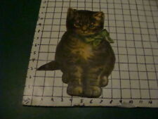 """Vintage Cat looks to be cut from an old book 12"""" tall"""