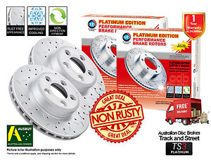 FOR NISSAN Patrol Y61 GU Except 4.8L FRONT Slotted Drilled Disc Brake Rotors (2)