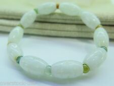 Perfect Natural A Grade Jade (jadeite) 10mm Oval Carved Bead Bracelet