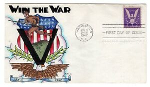 #905 Win the War Dorothy Knapp Hand Painted Cachet 1942 WWII First Day Cover