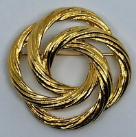 Monet MCM Modernist Style Gold-tone Knot Brooch Lapel Pin Vintage Estate Jewelry